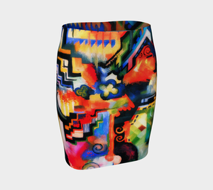 Macke Dragon Hip Enhancer Abstraction Pencil Skirt
