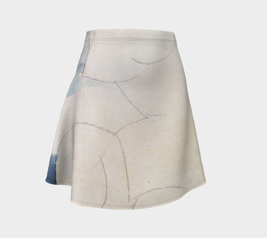 Amedeo Dragon Nude Ghost Skater Flare Skirt