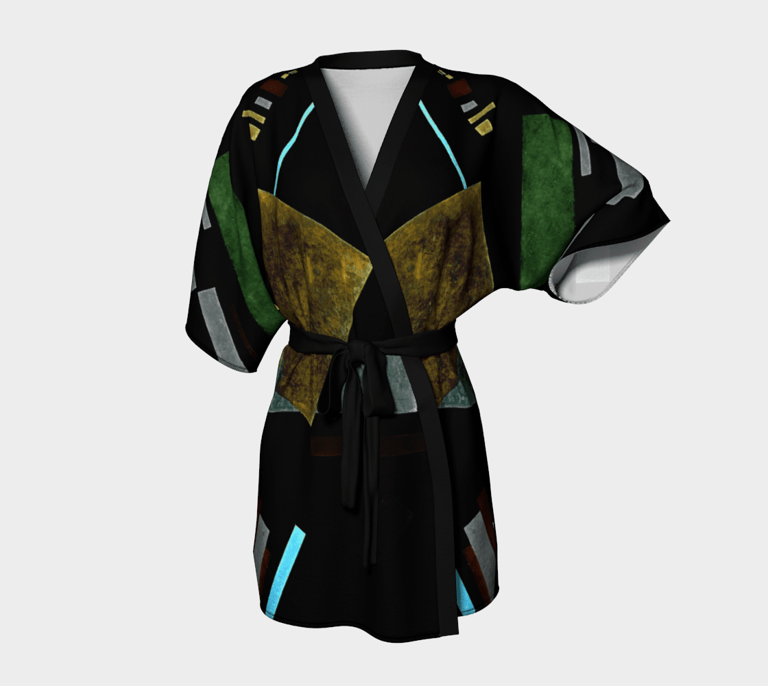Asymmetrical Dragon Distracting Abstraction Kimono