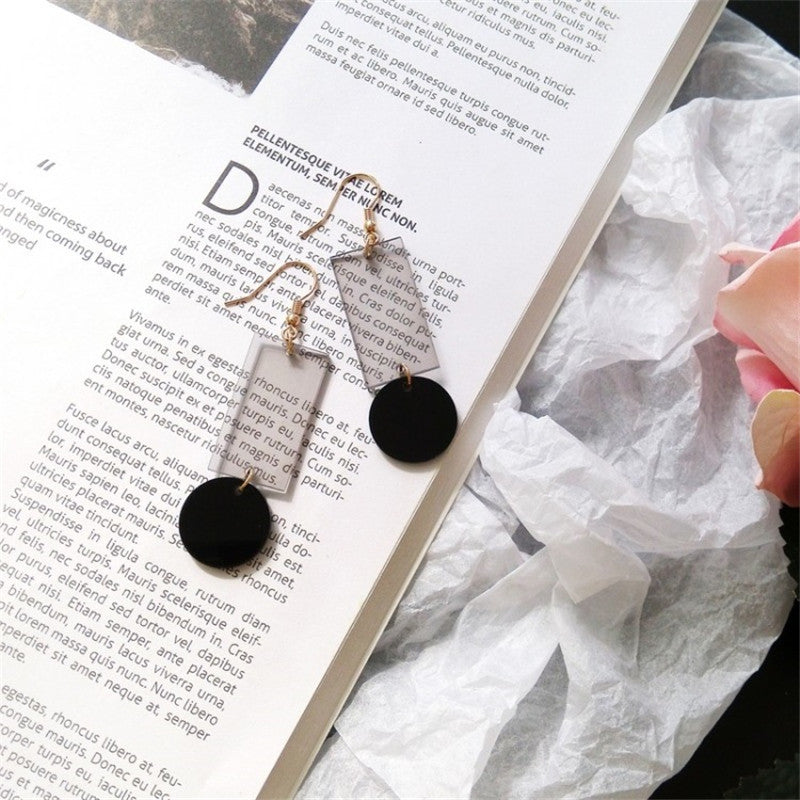 Round Peg Square Hole Earrings Transparent Black Earrings Transparent Black   - Super Cool Supply Store