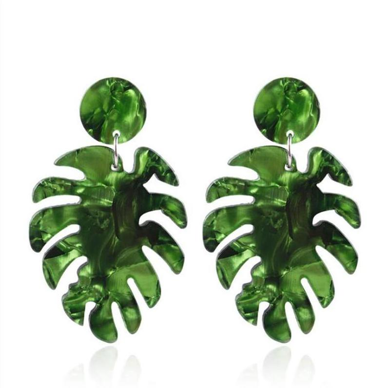 The Full Palm Earrings Green Earrings Green   - Super Cool Supply Store