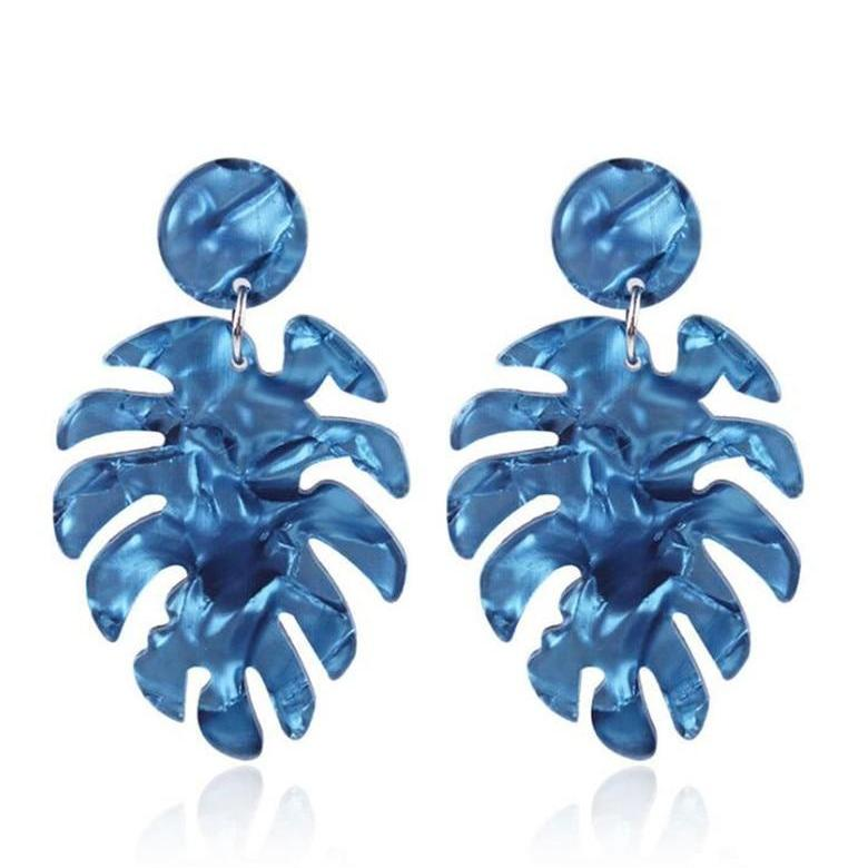The Full Palm Earrings Blue Earrings Blue   - Super Cool Supply Store