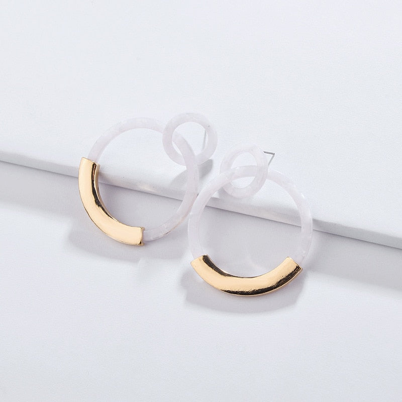 The Evermore Metallic Hoop Earrings White Earrings White   - Super Cool Supply Store