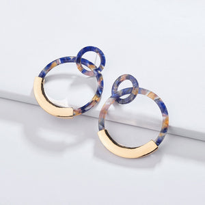 The Evermore Metallic Hoop Earrings Blue Earrings Blue   - Super Cool Supply Store