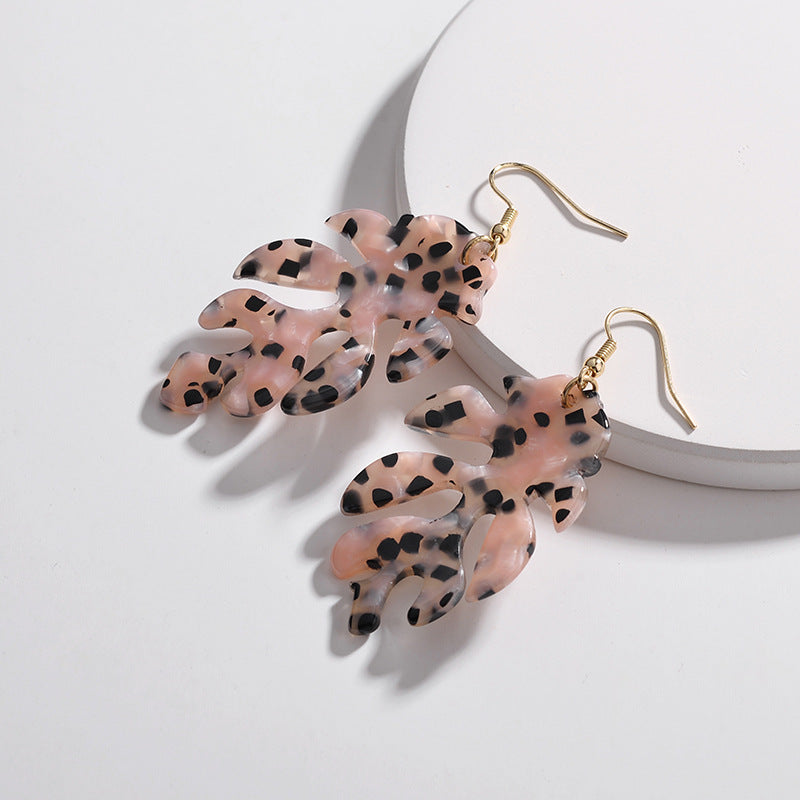 The Leopard Leaf Earrings Pink Earrings Pink   - Super Cool Supply Store