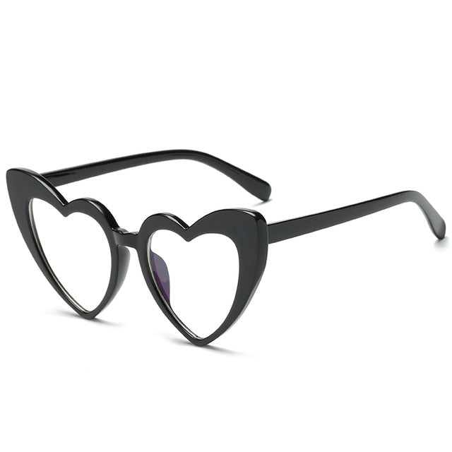 The Heart Sunglasses Black Frame Clear Lens Sunglasses Black Frame Clear Lens   - Super Cool Supply Store