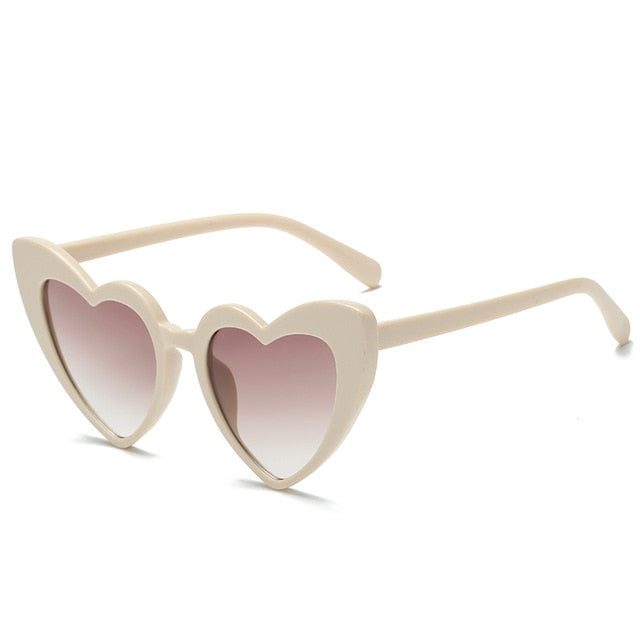 The Heart Sunglasses Beige Frame Brown Lens Sunglasses Beige Frame Brown Lens   - Super Cool Supply Store