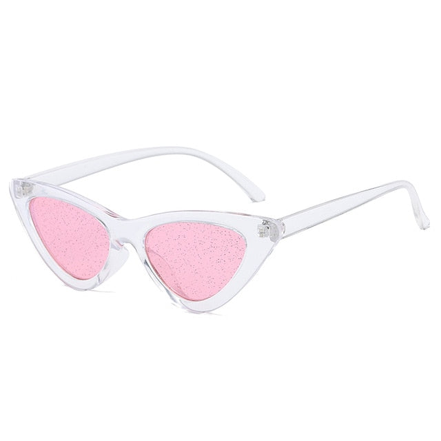 The Glitter Sunglasses Clear Frame Pink Lens Sunglasses Clear Frame Pink Lens   - Super Cool Supply Store