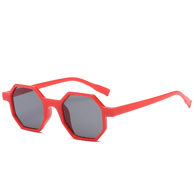 The Octagon Sunglasses Red Frame Black Lens Sunglasses Red Frame Black Lens   - Super Cool Supply Store
