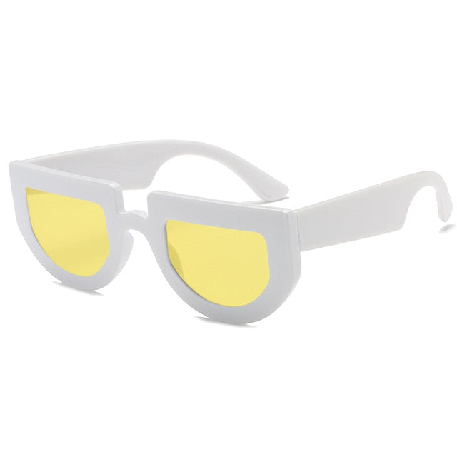 The Halfer Sunglasses White Frame Yellow Lens Sunglasses White Frame Yellow Lens   - Super Cool Supply Store