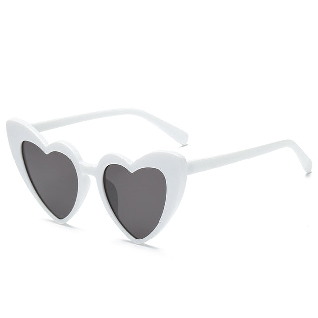 The Heart Sunglasses White Frame Black Lens Sunglasses White Frame Black Lens   - Super Cool Supply Store