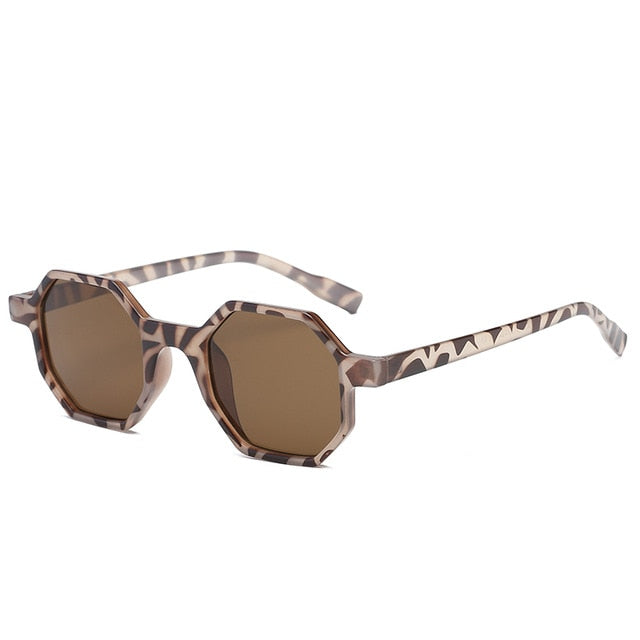 The Octagon Sunglasses Leopard Frame Brown Lens Sunglasses Leopard Frame Brown Lens   - Super Cool Supply Store