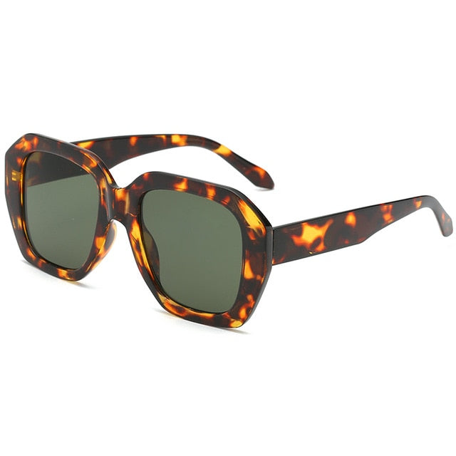 The Barney Sunglasses Leopard Frame Green Lens Sunglasses Leopard Frame Green Lens   - Super Cool Supply Store