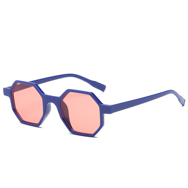 The Octagon Sunglasses Blue Frame Red Lens Sunglasses Blue Frame Red Lens   - Super Cool Supply Store