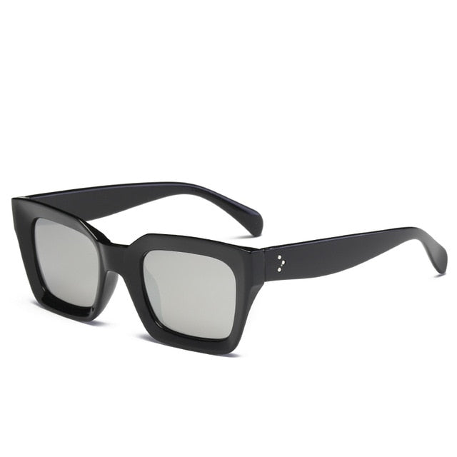 The Oblong Sunglasses Black Frame Silver Lens Sunglasses Black Frame Silver Lens   - Super Cool Supply Store
