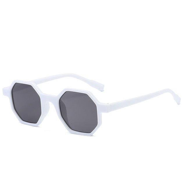 The Octagon Sunglasses White Frame Black Lens Sunglasses White Frame Black Lens   - Super Cool Supply Store