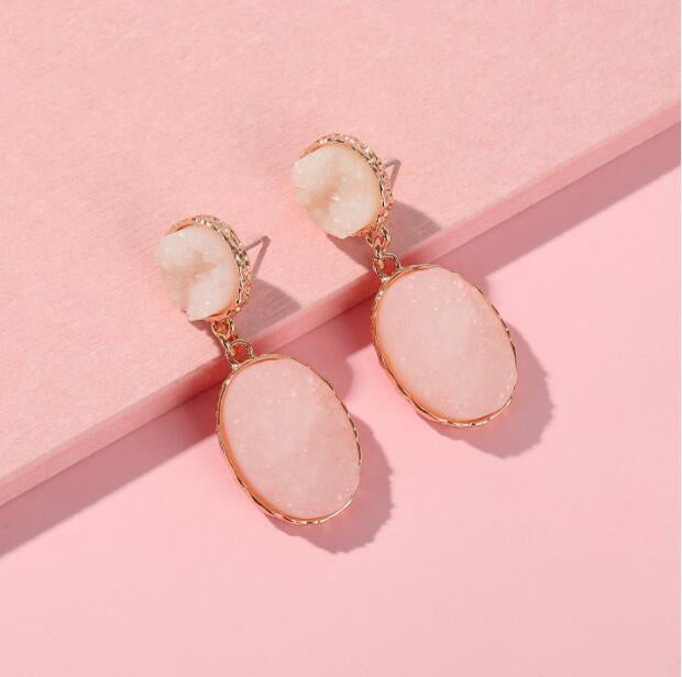 The Clark Drop Earrings Blush White Earrings Blush White   - Super Cool Supply Store