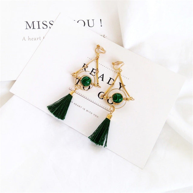 The Dita Tassel Earring Green Clip Earrings Green Clip   - Super Cool Supply Store