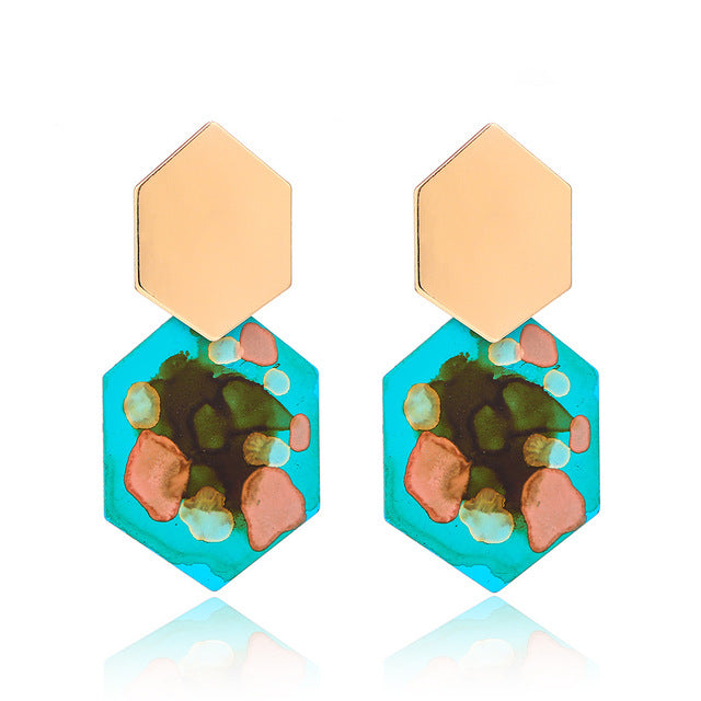 The Hexa Earrings Turquoise Earrings Turquoise   - Super Cool Supply Store