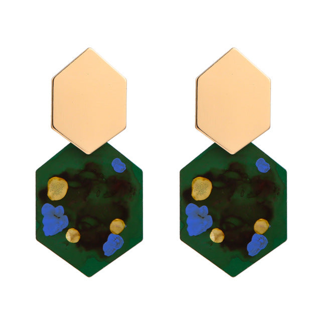 The Hexa Earrings Green Earrings Green   - Super Cool Supply Store