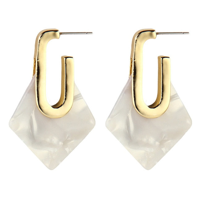 The Diamond Drop Earrings White Earrings White   - Super Cool Supply Store
