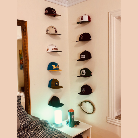 "Baseball Cap Collection - The Price Family.  He noted ""I put this set of CAP CAPERS in his bedroom but these could be in my living room they hang so clean & display hats so professionall"""