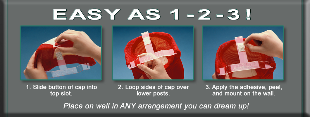 3 Easy Steps - then Mount Baseball Cap On Wall!