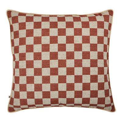 Small Checkers Terracotta Cushion