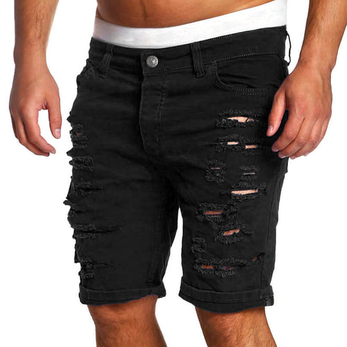 2017 Brand Black Ripped Jeans Men Short Biker Denim Jeans Summer Casual Slim Fit Water Washed Cotton Straight Men Short Jeans 2