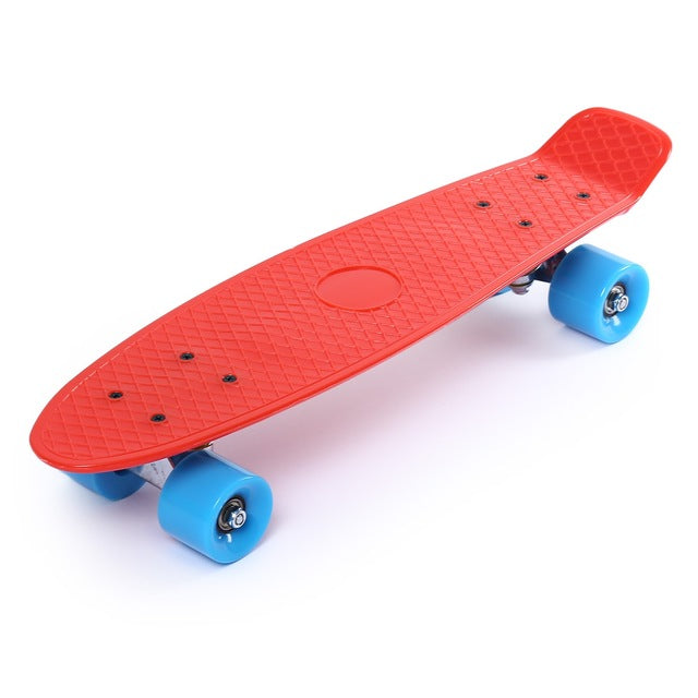 22 inches Four-wheel Street Fish Skateboard Banana Long Skate Board Classic Retro Mini Cruiser Skateboarding for Adult Children