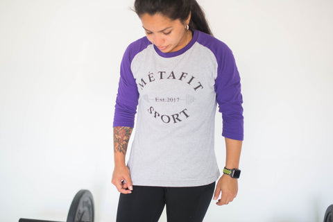 Purple Three Quarter Sleeve Est 2017 Women