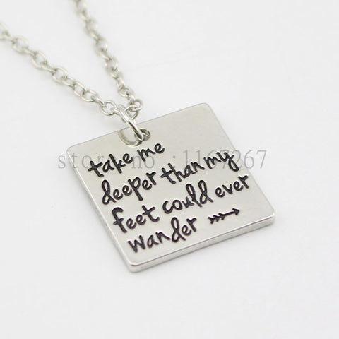 Take Me Deeper Than My Faith -  Silver Square Pendant & Necklace