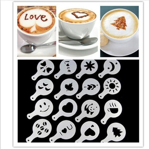 16Pcs Coffee Milk Gift Cupcake Stencil Template Mold Coffee Barista Cappuccino Template Strew Pad Duster Spray mold Tool