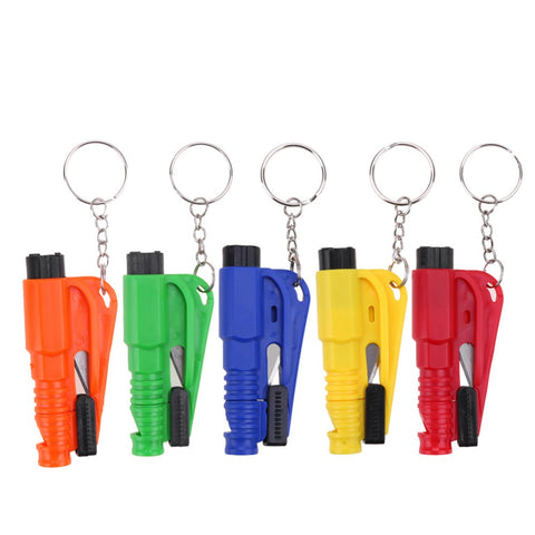 5 colors Car Auto Mini Safety Glass Window Breaking Hammer Emergency Escape Rescue Tool with Keychain Seat Belt Knife Cutter