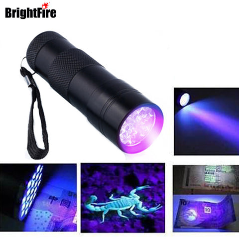 Mini Aluminum Portable UV Flashlight Violet Light 9 LED UV Torch Light Lamp Flashlight