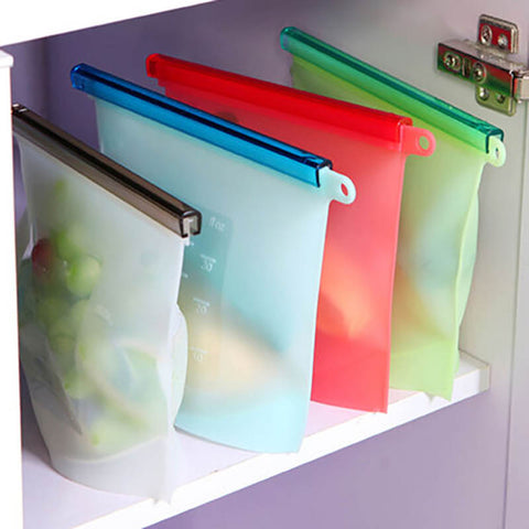 Colorful food-grade silicone kitchen outdoor travel Reusable Vacuum Food Sealer Bags Wrap Fridge Food Storage Container TSLM1