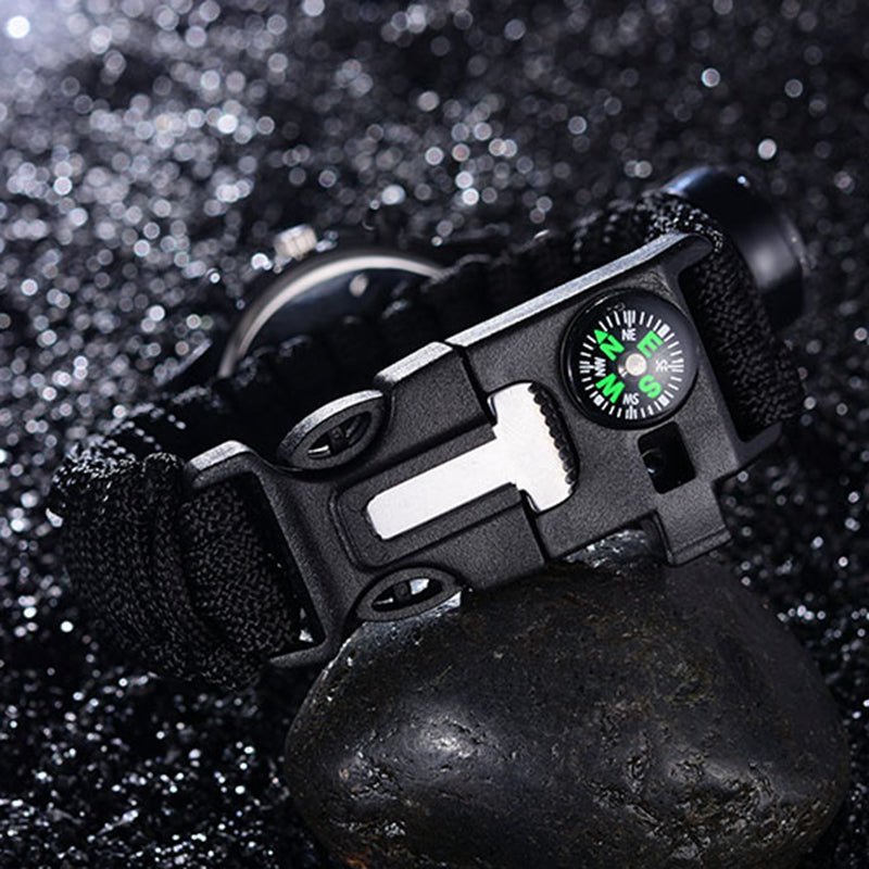 Tactical multi Outdoor Camping survival bracelet watch compass Rescue Rope paracord equipment Tools kit