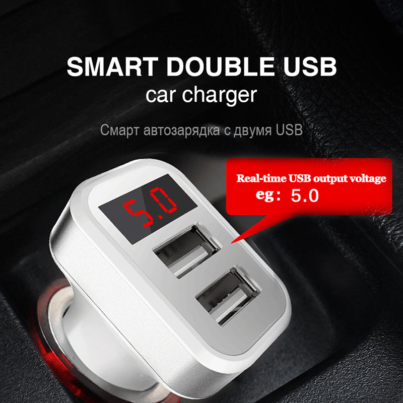 Fast Charging Car Charger Digital Display Dual Port USB Adapter 2.1A Car-charger 2USB Adapter for iPhone Samsung Xiaomi Wuahei