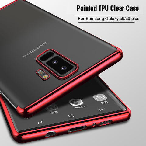 For Samsung Galaxy S9 / S9 Plus case, Vpower Painted frame Crystal Clear tpu soft Phone case for samsung s9 s9+ cover