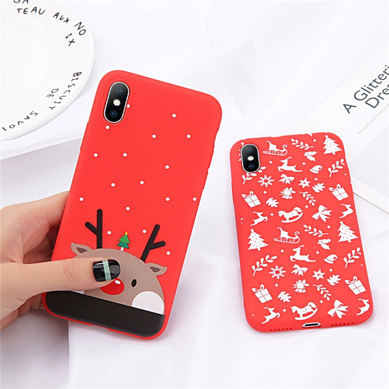 SabreCase Phone Case For iPhone 6 6s 7 8 Plus X XR XS Max Cute Cartoon Christmas Santa Claus Elk Soft TPU For iPhone 5 5S SE Cover