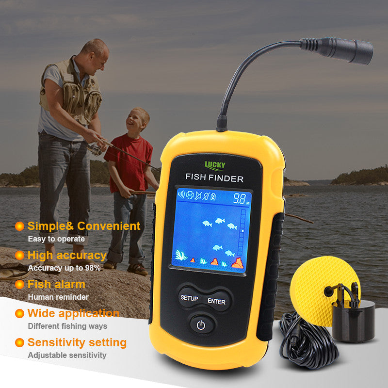 Lucky Brand Fish Finders Alarm 100M Portable Sonar LCD Fishing Lure Bait Echo Sounder Carp Fishing Finder FFC1108-1