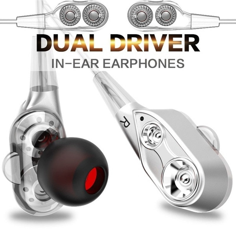 Dual Driver Earphones In-Ear Stereo Bass earphones Sport Running HIFI Earbuds For iPhone Huawei fone de ouvido - Free + Shipping