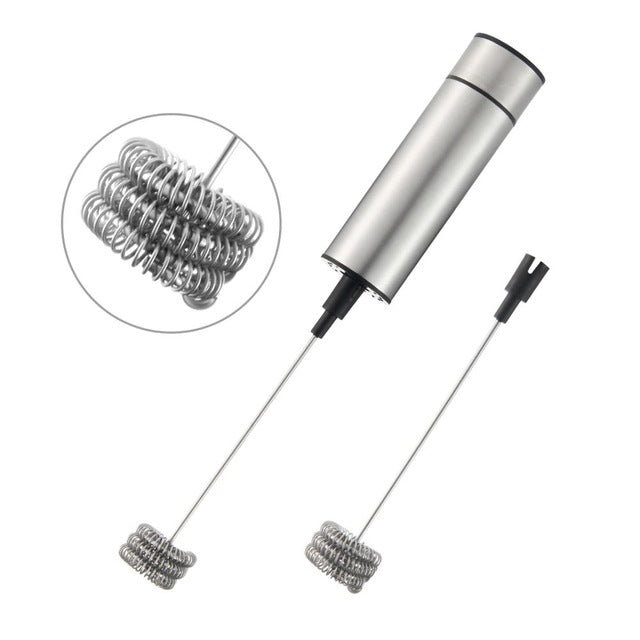 Double Triple Spring Whisk Head Electric Milk Frother Handheld Blender Mixer with Additional Single Spring Whisk Head for Coffee