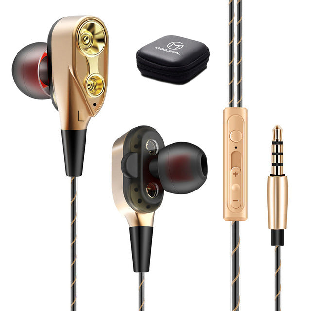 MOOJECAL Dual Driver Earphones In-Ear Stereo Bass earphones Sport Running HIFI kulakl Earbuds For iPhone Huawei fone de ouvido