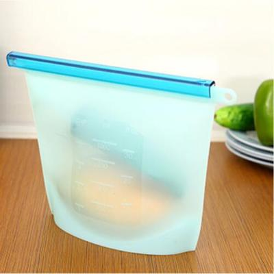 Reusable Silicone Vacuum Fresh Food Bags/Wraps - Fridge Food Storage Containers Refrigerator Bag Kitchen Colored Ziplock Bags