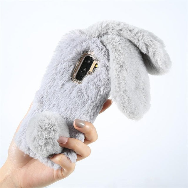 Cute Rabbit Girl Phone Case For Samsung Galaxy S8 S9 Plus Mobile Phone Back Cover For Samsung Note 8 Case Protective Accessories