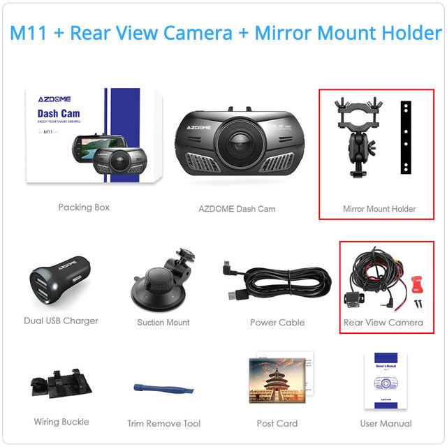 M11 Mini Full HD1080P Dash Cam 3 inch 2.5D IPS Screen Car DVR Recorder Camera Car Video Recorder Dual Lens Dash Camera