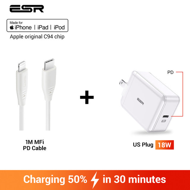 SabreCharge USB C Fast Charger 18W Wall Plug Travel Quick Type C Type c PD Charger for iPhone 11 X XR XS Max iPad Pro 2018 2019 US