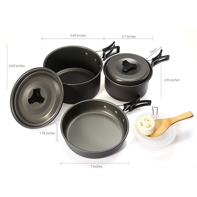 9pcs/set Outdoor Portable Cookware Set Non-stick Pots Pans Bowls Cooking Picnic Set for Hiking Camping Travel Survival Picnic