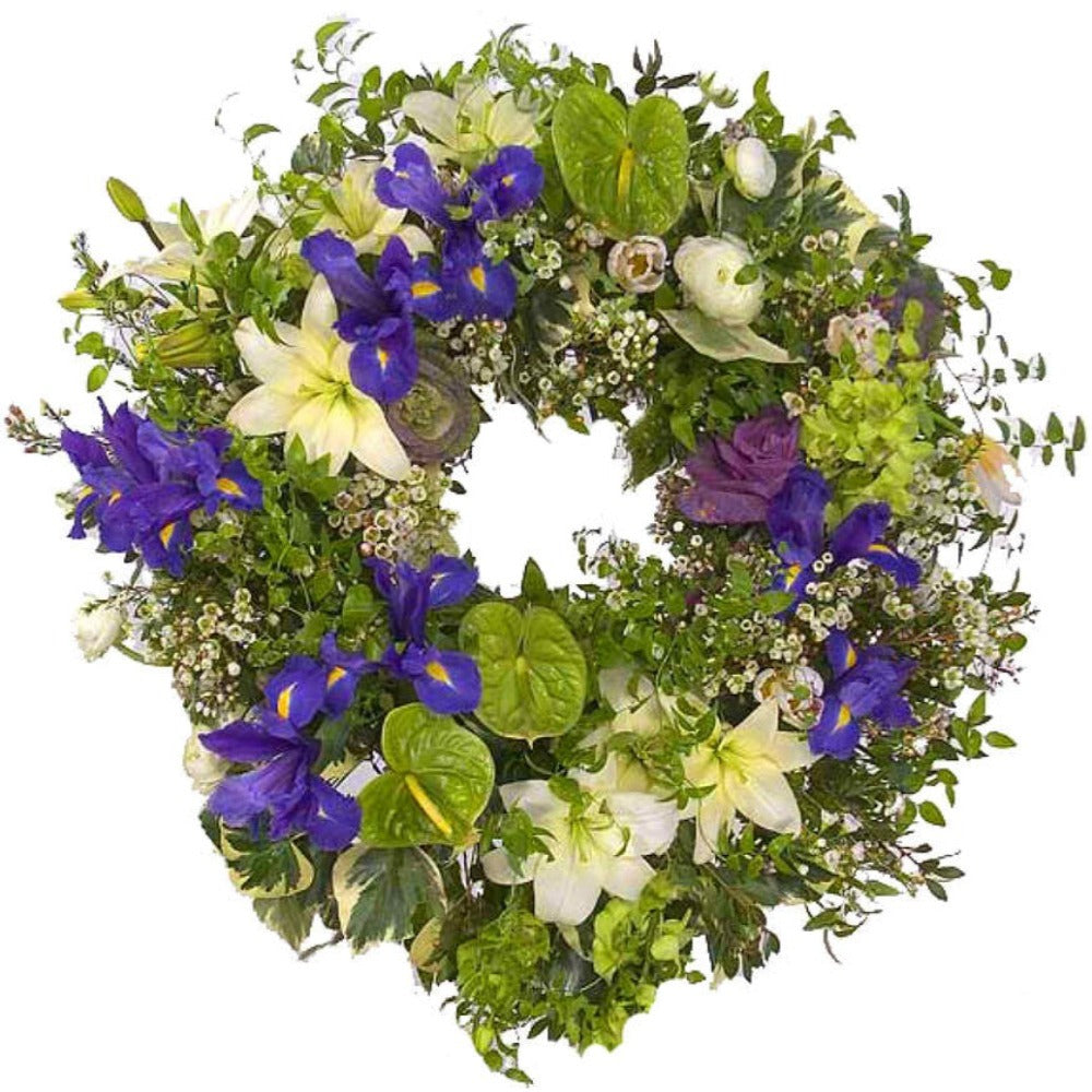 Funeral Flower Wreath in green and purple
